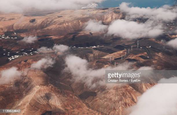 high angle view of volcanic landscape - bortes ストックフォトと画像
