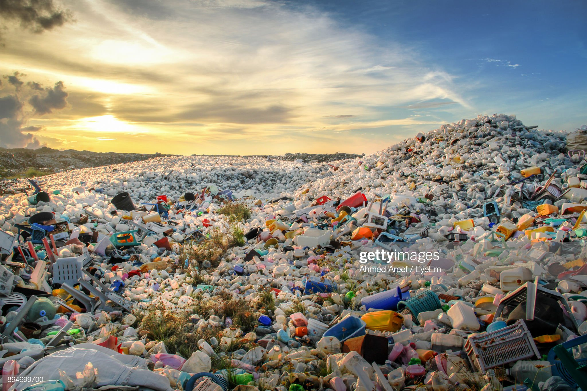 High Angle View Of Waste At Dumbing Ground : Stock Photo