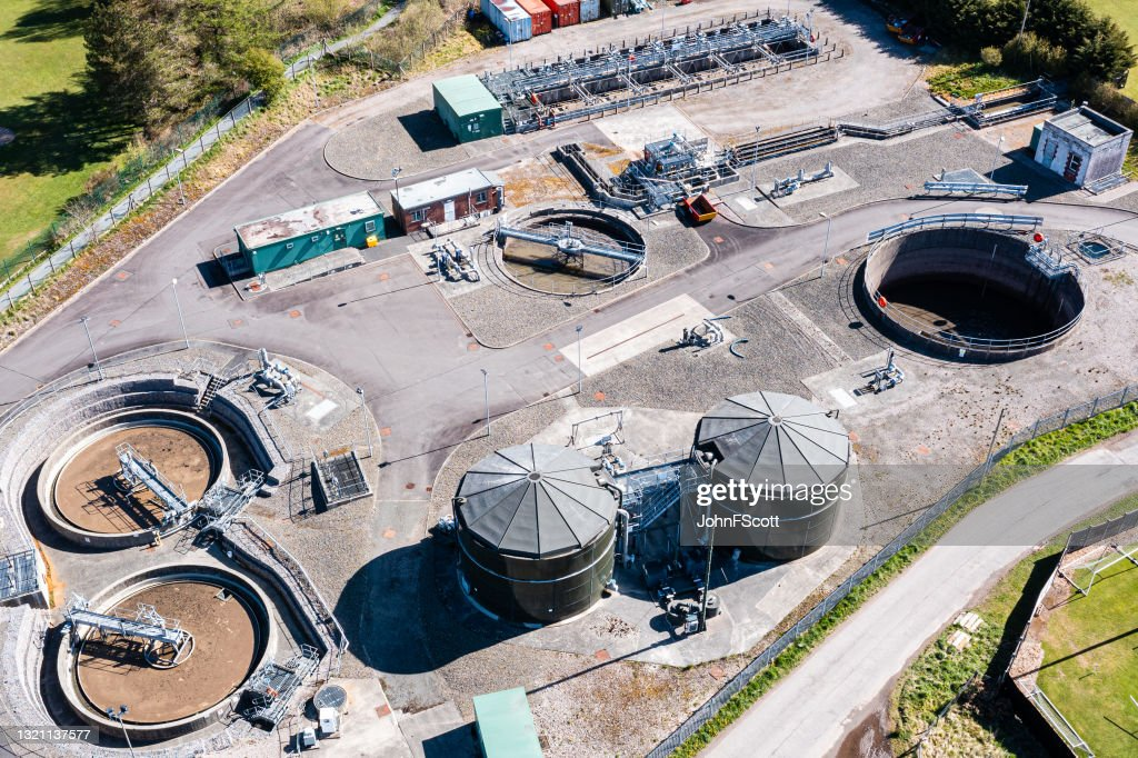 High angle view of waste treatment plant : Stock Photo