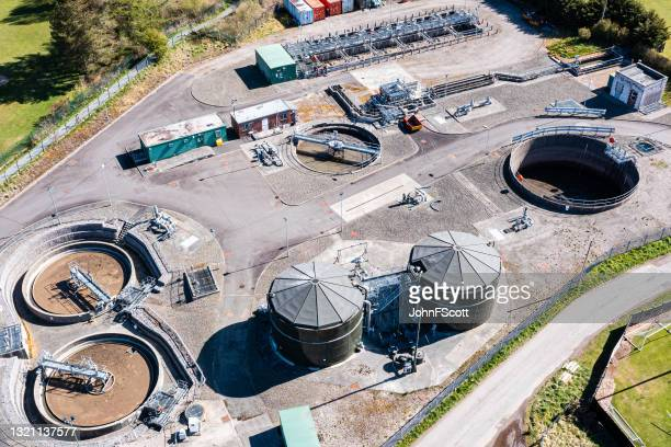 high angle view of waste treatment plant - johnfscott stock pictures, royalty-free photos & images