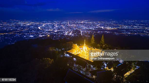 High angle view of Wat Phra That Doi Suthep and Chiang Mai city