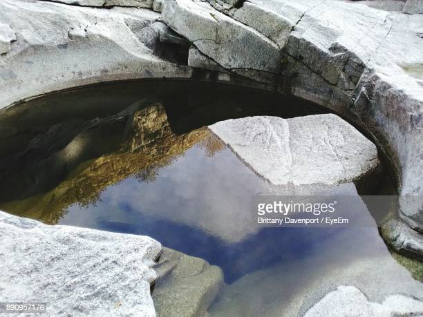 High Angle View Of Water Collected Amidst Rocks