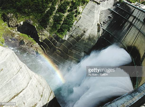 High Angle View Of Water Falling From Dam