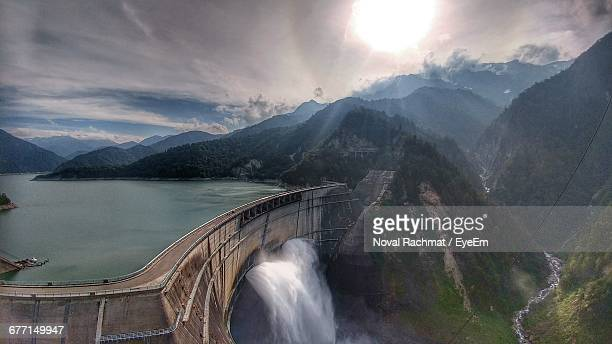 High Angle View Of Water Flowing At Dam