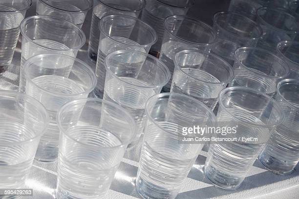 High Angle View Of Water In Disposable Cup