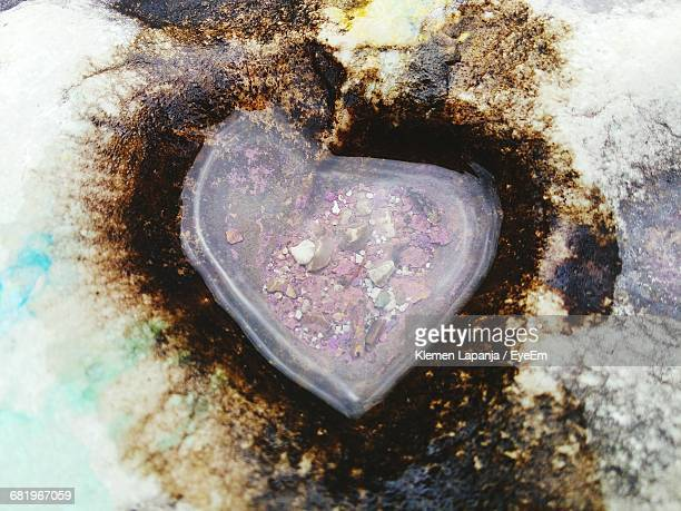 High Angle View Of Water In Heart Shape Rock