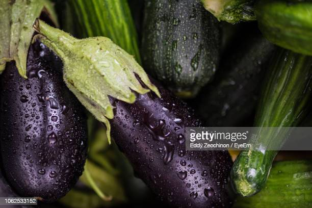 high angle view of water vegetables - eggplant stock photos and pictures