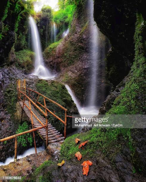 high angle view of waterfall in forest - bandung stock pictures, royalty-free photos & images