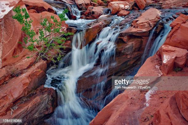 high angle view of waterfall - utah stock pictures, royalty-free photos & images