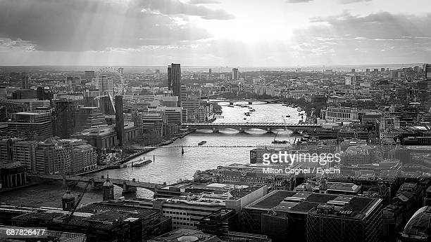 High Angle View Of Waterloo Bridge Over Thames River In City