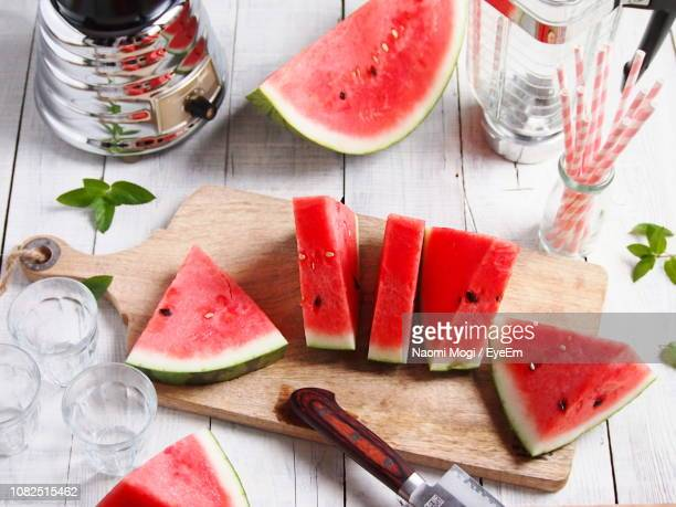 High Angle View Of Watermelon On Cutting Board