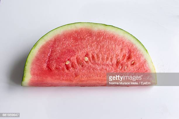 High Angle View Of Watermelon Slice On White Background
