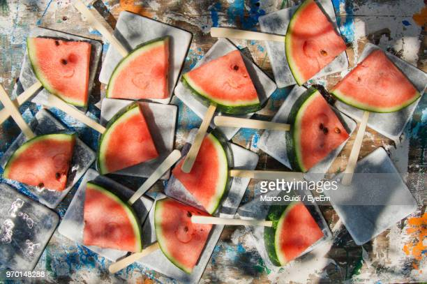 High Angle View Of Watermelon Slices On Table