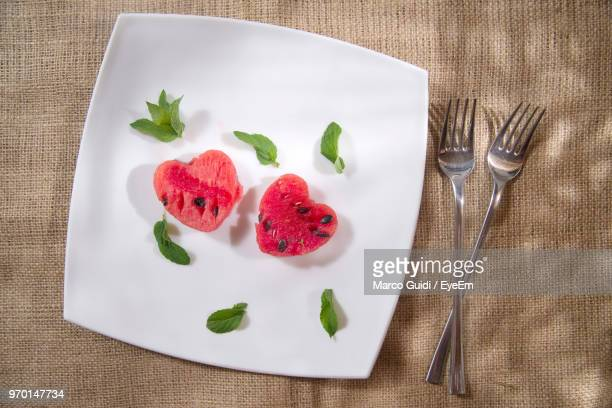 High Angle View Of Watermelons In Plate On Table