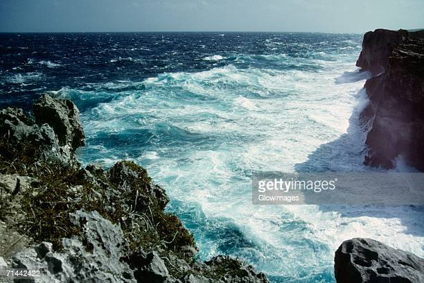 High angle view of waves crashing against the rocks, Clipps Window Pane, Eleuthera, Bahamas
