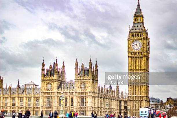 High Angle View Of Westminster Bridge By Big Ben Against Sky. London, United Kingdom, England