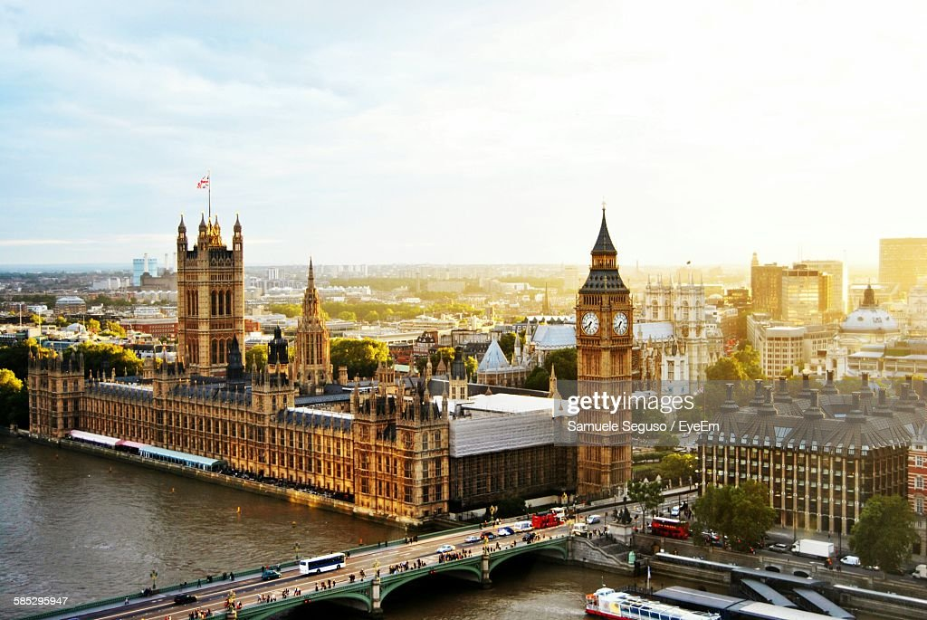 High Angle View Of Westminster Bridge By Big Ben Against Sky : Stock Photo