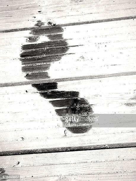 High Angle View Of Wet Footprint On Boardwalk