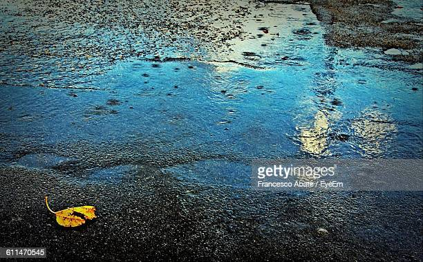 High Angle View Of Wet Road In Rainy Season