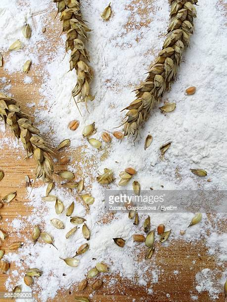 High Angle View Of Wheat Flour On Table