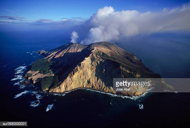 high angle view of white island volcano off north coast of new zealand. - new zealand volcano stock photos and pictures