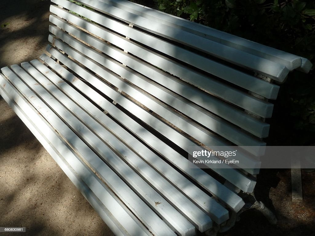 Phenomenal High Angle View Of White Wooden Bench Stock Photo Getty Images Gmtry Best Dining Table And Chair Ideas Images Gmtryco