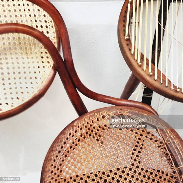High Angle View Of Wicker Chairs At Home
