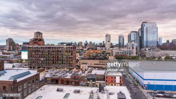 high angle view of williamsburg, brooklyn - new york - water tower storage tank stock pictures, royalty-free photos & images
