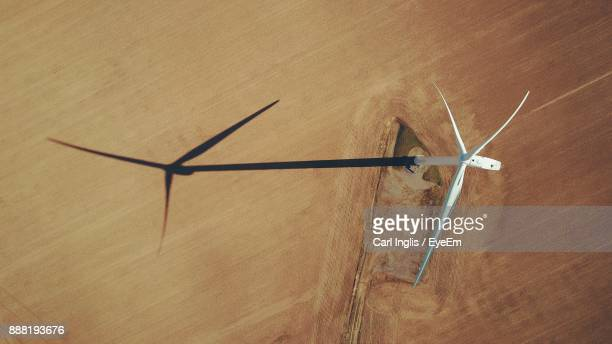 High Angle View Of Wind Turbine During Sunny Day