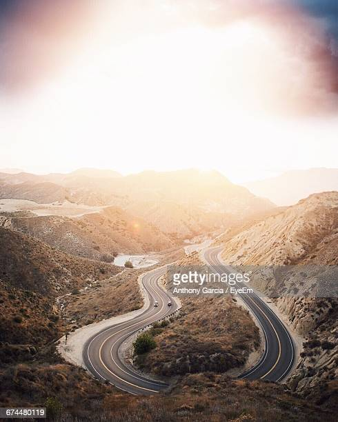 High Angle View Of Winding Mountain Road