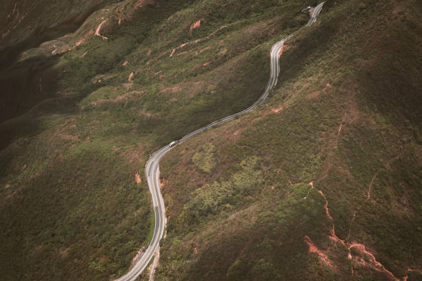 High angle view of winding road on mountain,Colombia
