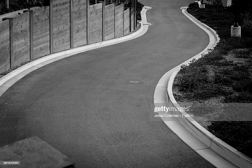 High Angle View Of Winding Road : Stock Photo