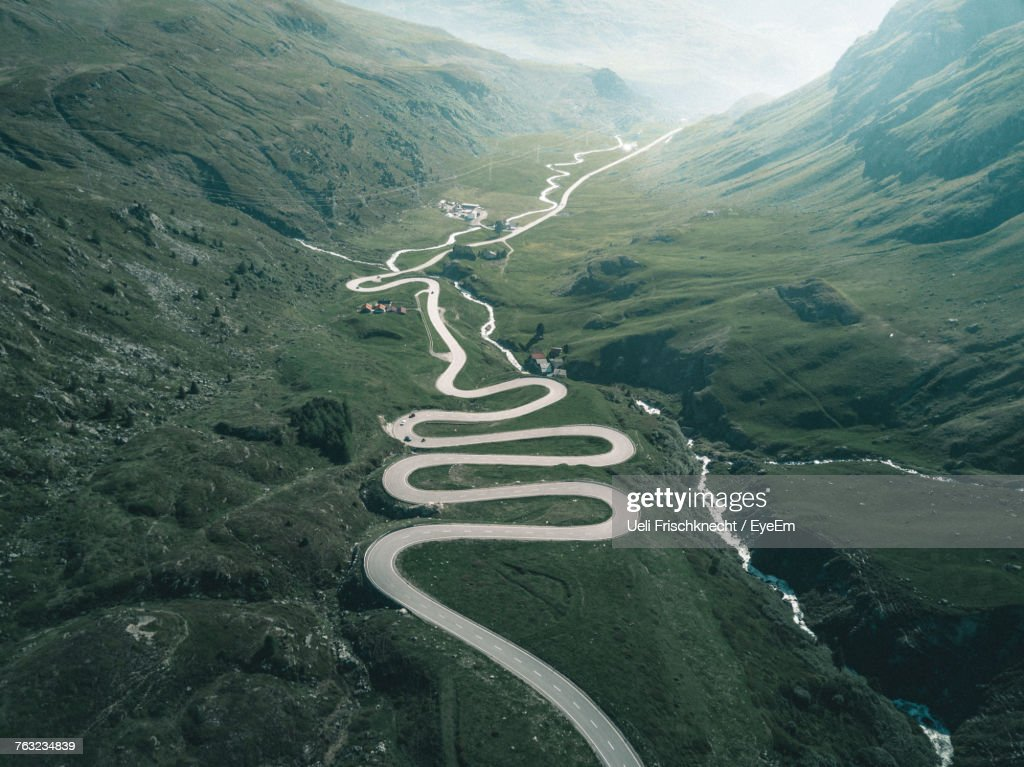 High Angle View Of Winding Road : Stock-Foto