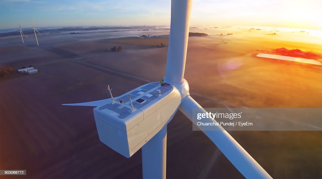 High Angle View Of Windmill During Sunset : Stock Photo