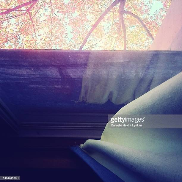 high angle view of window and curtain - danielle reid stock pictures, royalty-free photos & images