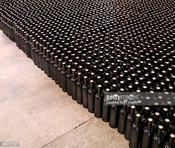 High Angle View Of Wine Bottles At Warehouse