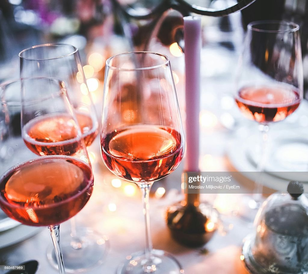 High Angle View Of Wine In Glass On Table : Stock Photo