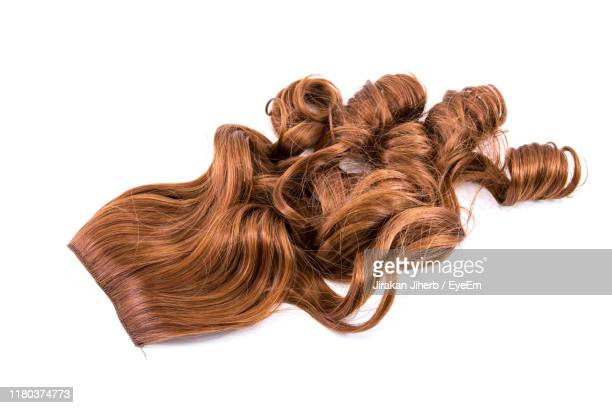 high angle view of woman hair against white background - wig stock pictures, royalty-free photos & images