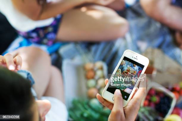 High angle view of woman photographing food while sitting on blanket