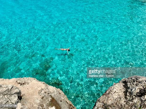 high angle view of woman swimming in sea - アンティル諸島 ストックフォトと画像