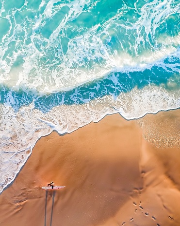 High Angle View Of Woman Walking At Beach - gettyimageskorea