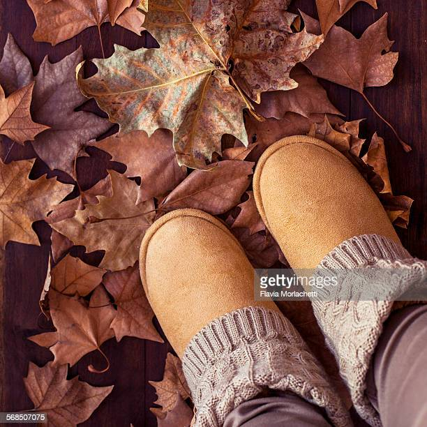 High angle view of woman with autumn boots