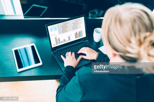 High angle view of woman working with laptop in hotel room