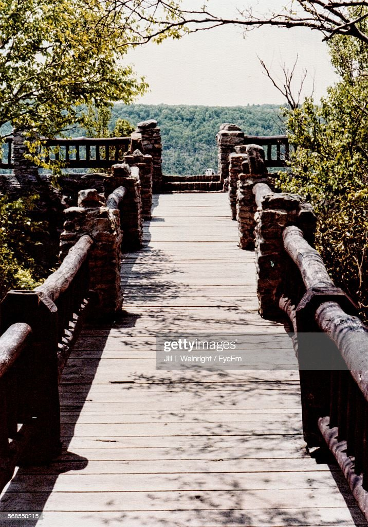 High Angle View Of Wooden Bridge : Stock Photo