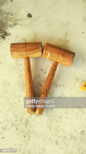 High Angle View Of Wooden Mallets