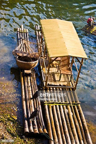 High angle view of wooden rafts in a river, Li River, XingPing, Yangshuo, Guangxi Province, China