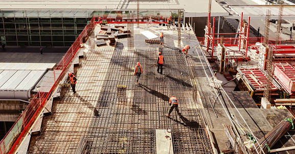 High angle view of workers in construction site 1189235635