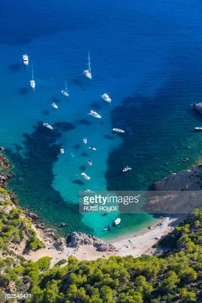 High angle view of yachts anchored in coastal bay, Majorca, Spain