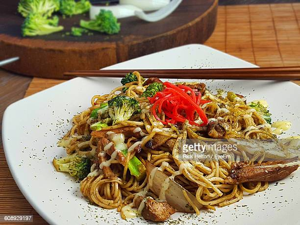 High Angle View Of Yakisoba In Plate