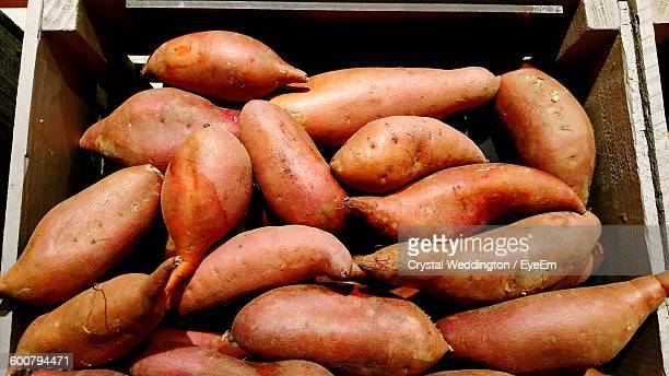 High Angle View Of Yams In Basket
